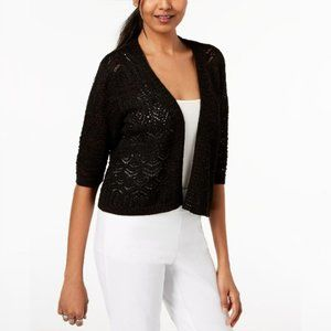 JM Collection Black Cropped Open-Front Cardigan